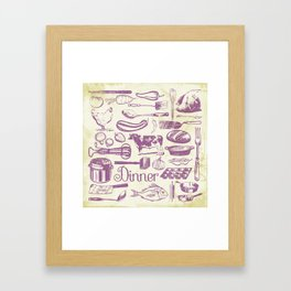 Retro Dinner - Aged Framed Art Print