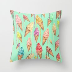 melted ice creams Throw Pillow