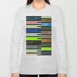 Ladder Color Blocks Complimenting Coral Long Sleeve T-shirt