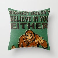 bigfoot Throw Pillows featuring Bigfoot by Heather Green