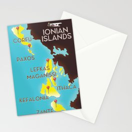 ionian Islands map Stationery Cards