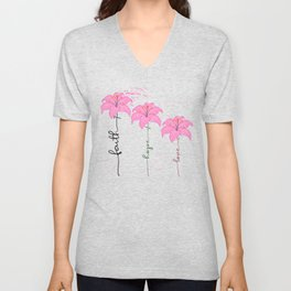 Breast Cancer Awareness Faith Hope Love Floral Design Unisex V-Neck