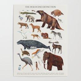 Animal chart of the Holocene extinction Poster