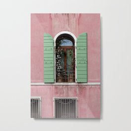 Venice Window In Pink And Green Metal Print