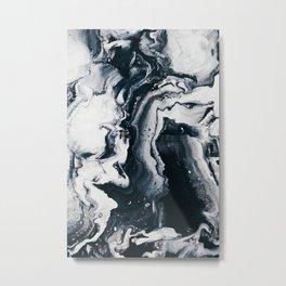 MARBLE - SILKY BLACK & WHITE Metal Print