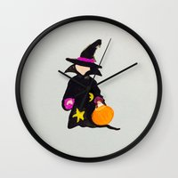 toddler Wall Clocks featuring October Halloween Trick or Treat Toddler Witch by PodArtist