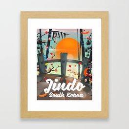 Jindo South korea travel poster. Framed Art Print
