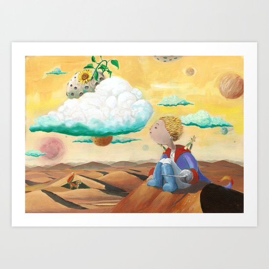 Little Prince with sunflower Art Print