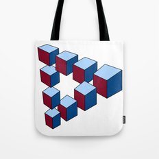 Geometry - Optical Illusion - Cubes in perspective - 3D - 3 focal points Tote Bag