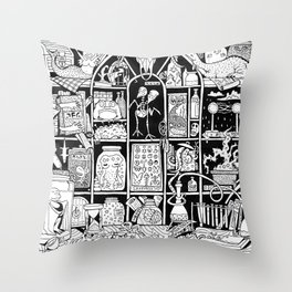 Cabinet of Curiosities (BW) Throw Pillow