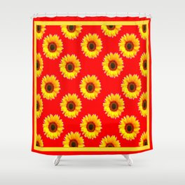 Scarlet Red & Golden Yellow Sunflowers Patterns Shower Curtain