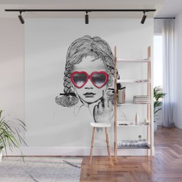 Cute flipping the Bird Wall Mural
