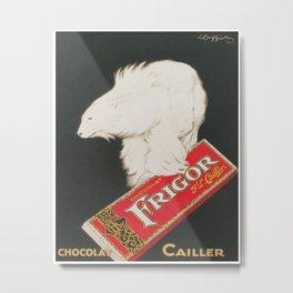 Polar Bear and Chocolate Candy Vintage Advertisement Metal Print