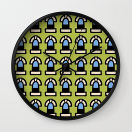 New York Windows Pattern 261 Chartreuse and Blue Wall Clock