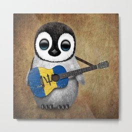 Baby Penguin Playing Barbados Flag Acoustic Guitar Metal Print