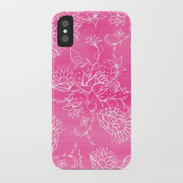 Elegant hand drawn floral pattern pink watercolor iPhone Case
