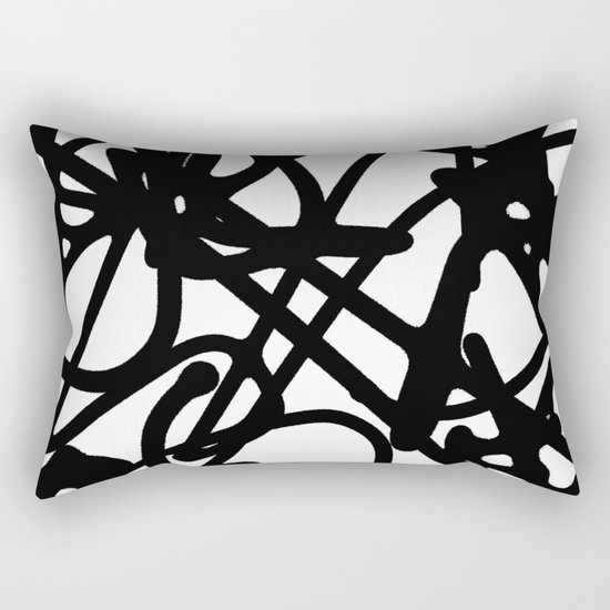 Meaningless - Black and white expressive painting Rectangular Pillow