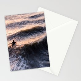 Lone surfer at sunset waiting for the next wave Stationery Cards