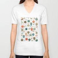 folk V-neck T-shirts featuring Festive Folk Charms by Poppy & Red