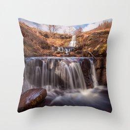 Blaen y Glyn waterfalls Throw Pillow