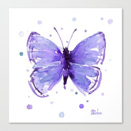 Butterfly Painting Purple Violet Abstract Butterfly Canvas Print