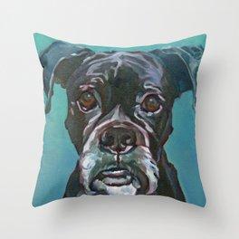 Sable the Black Boxer Dog Throw Pillow