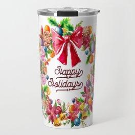 Christmas Wreath Painting Illustration Design Travel Mug