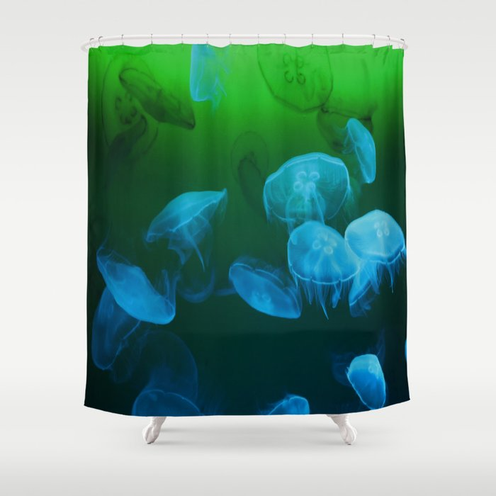 Moon Jellyfish - Blue and Green Shower Curtain by mariannamills ...