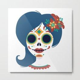 Cool Mexican skull women head design Metal Print