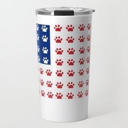 American flag made of paw prints Travel Mug