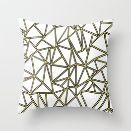 Ab Blocks White Gold Throw Pillow