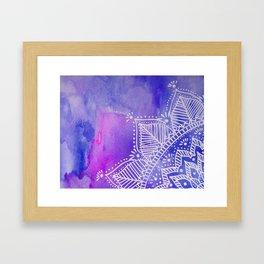 Mandala flower on watercolor background - purple and blue Framed Art Print