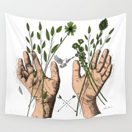 Hands and nature Wall Tapestry