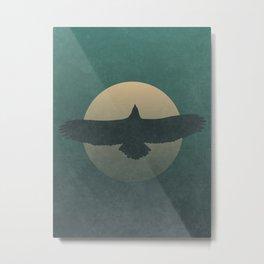 Soaring Eagle Flying Under Moon Light Metal Print