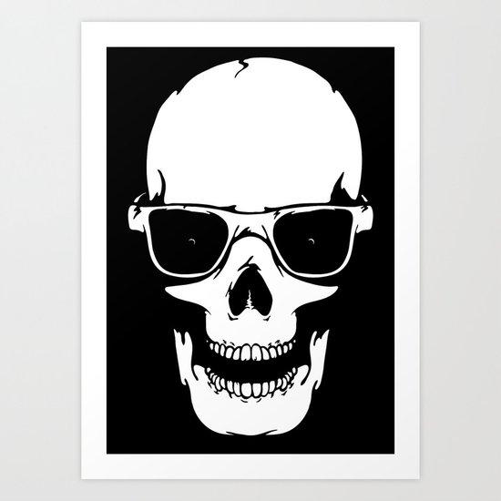 Skull in shades Art Print