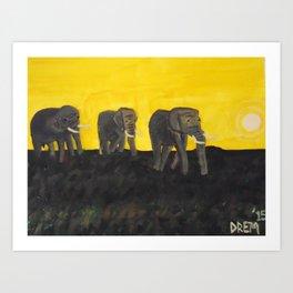 Elephants Mother Child Father Art Print