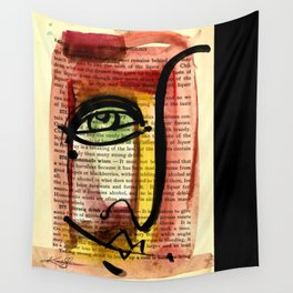 "Funky Face Abstract, ""I See 35"" by Kathy morton Stanion Wall Tapestry"