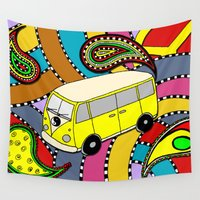vw bus Wall Tapestries featuring Trippy VW-Style Love Bus Campervan - Yellow by Carrie at Dendryad Art