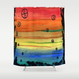 rainbow aliens Shower Curtain