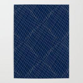 Japanese shibori dark blue indigo sapphire white Poster