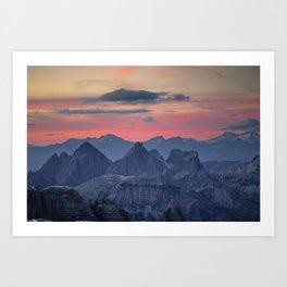 Sunset from Piz Boe Dolomites Italy Art Print