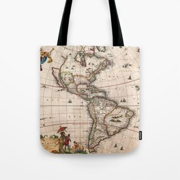 North & South America map 1658 with 2017 enhancements Tote Bag