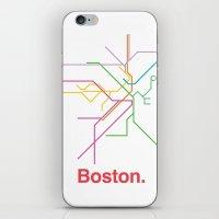 boston map iPhone & iPod Skins featuring Boston Transit Map by Ariel Wilson