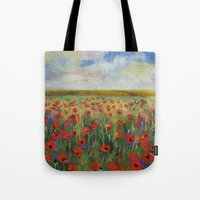 poppies Tote Bags featuring Poppies by Michael Creese