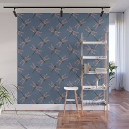 Crazy colorful dragonfly pattern on navy background Wall Mural