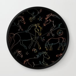 Galloping Horses, Rainbow Gradient on Black Wall Clock