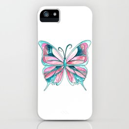 Pink and Blue Watercolor Butterfly iPhone Case