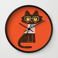 preppy Wall Clocks featuring Fitz - Preppy cat by Picomodi