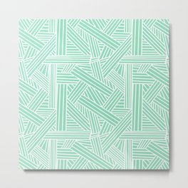 Sketchy Abstract (White & Mint Pattern) Metal Print