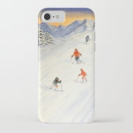 Skiing Family On The Slopes iPhone Case